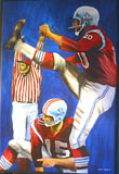 "Ernie Barnes: Gino ""No. 20"" Cappelletti, Kicking Point After Babe Perelli #15 Holding"